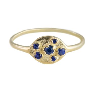n+a New York, Blue Sapphire & 14ct Yellow Gold Shield Ring, Tomfoolery