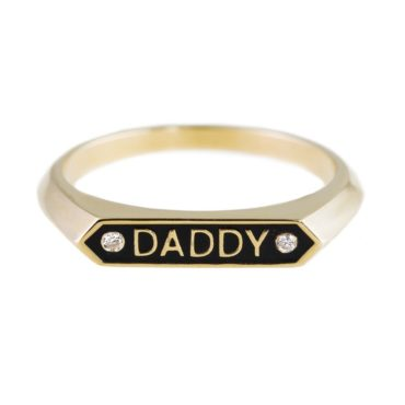 Nora Kogan, Diamond & Enamel 14ct Yellow Gold 'Daddy' Ring, Tomfoolery