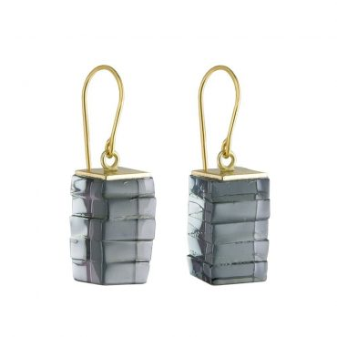 Rosa Mendez, Glass Stack Rectangle Drop Earrings, Tomfoolery