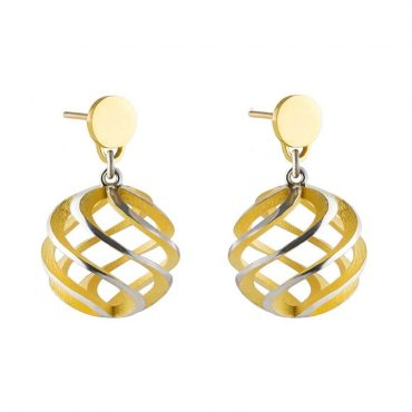 Sarah Herriot, Gold-Plated Silver Stud Drop Sun Earrings, Tomfoolery