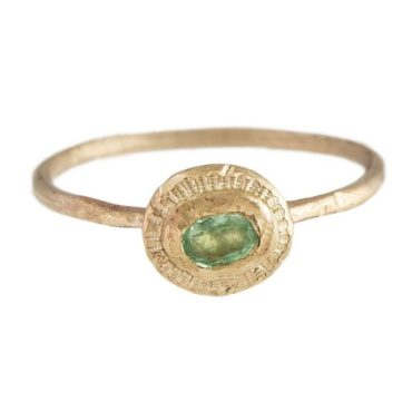 Franny E,  'SHE SITS BY THE OCEAN' THIN 14CT YELLOW GOLD AND PARAIBA TOURMALINE RING, Tomfoolery London