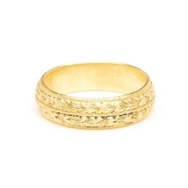 Diana Mitchell: 18ct Gold Hand Engraved Ring Wide, tomfoolery