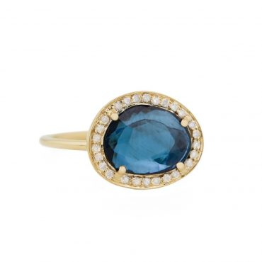 One Of A Kind 14 Carat Yellow Gold, Blue Watermelon Tourmaline & Diamond Stella Ring, Tomfoolery, Celine Daoust