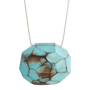 tomfoolery- Blue Faceted Wooden Necklace, cristina zani