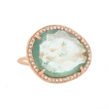 One Of A Kind 14 Carat Rose Gold, Blue Watermelon Tourmaline & Diamond Ring, Tomfoolery, Celine Daoust
