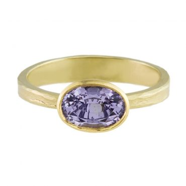 Tomfoolery: 18ct Yellow Gold Lilac Spinel Ring by Catherine Mannheim