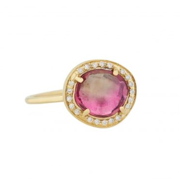One Of A Kind 14 Carat Yellow Gold,  Pink Watermelon Tourmaline & Diamond Medium Stella Ring, tomfoolery, celine daoust