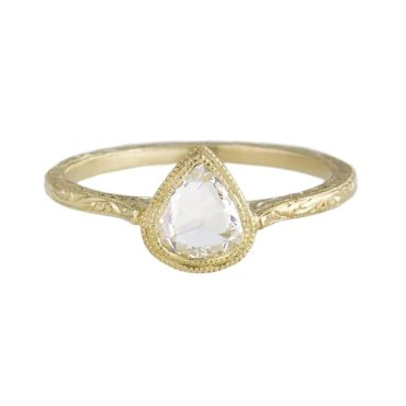 tomfoolery, rose cut pear cathedral ring, diana mitchell