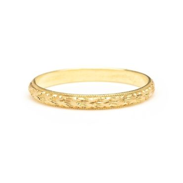 Diana Mitchell: 18ct Gold Hand Engraved Ring Thin, Tomfoolery