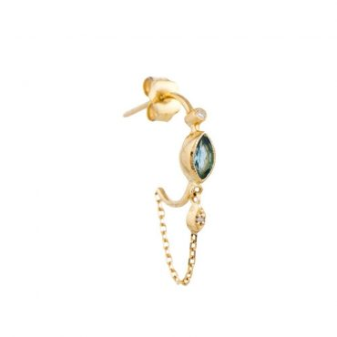 14ct Yellow Gold, Tourmaline & Diamond Single Hoop Earring, tomfoolery, celine daoust