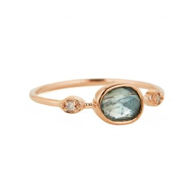 tomfoolery, 14 Carat Rose Gold, Pale Blue Tourmaline and Diamond Ring, celine daoust