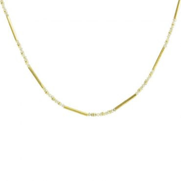tomfoolery: 18ct Yellow Gold & Rough Cut Diamond Beaded Necklace by Catherine Mannheim