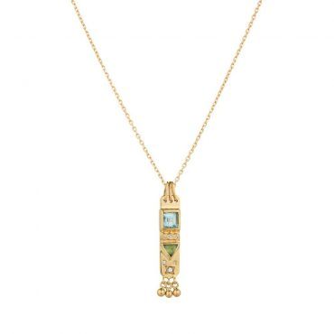 tomfoolery, 14ct Yellow Gold Tourmaline & Diamond Totem Chain Necklace, celine daoust