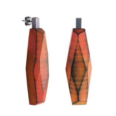 tomfoolery: red faceted wooden earrings, cristina zany