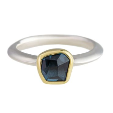 Margoni, Circle Blue Topaz 18ct Yellow Gold & Silver Ring, Tomfoolery