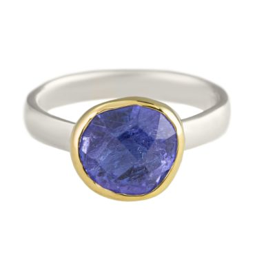 Margoni, Round Tanzanite 18ct Yellow Gold & Silver Ring, Tomfoolery