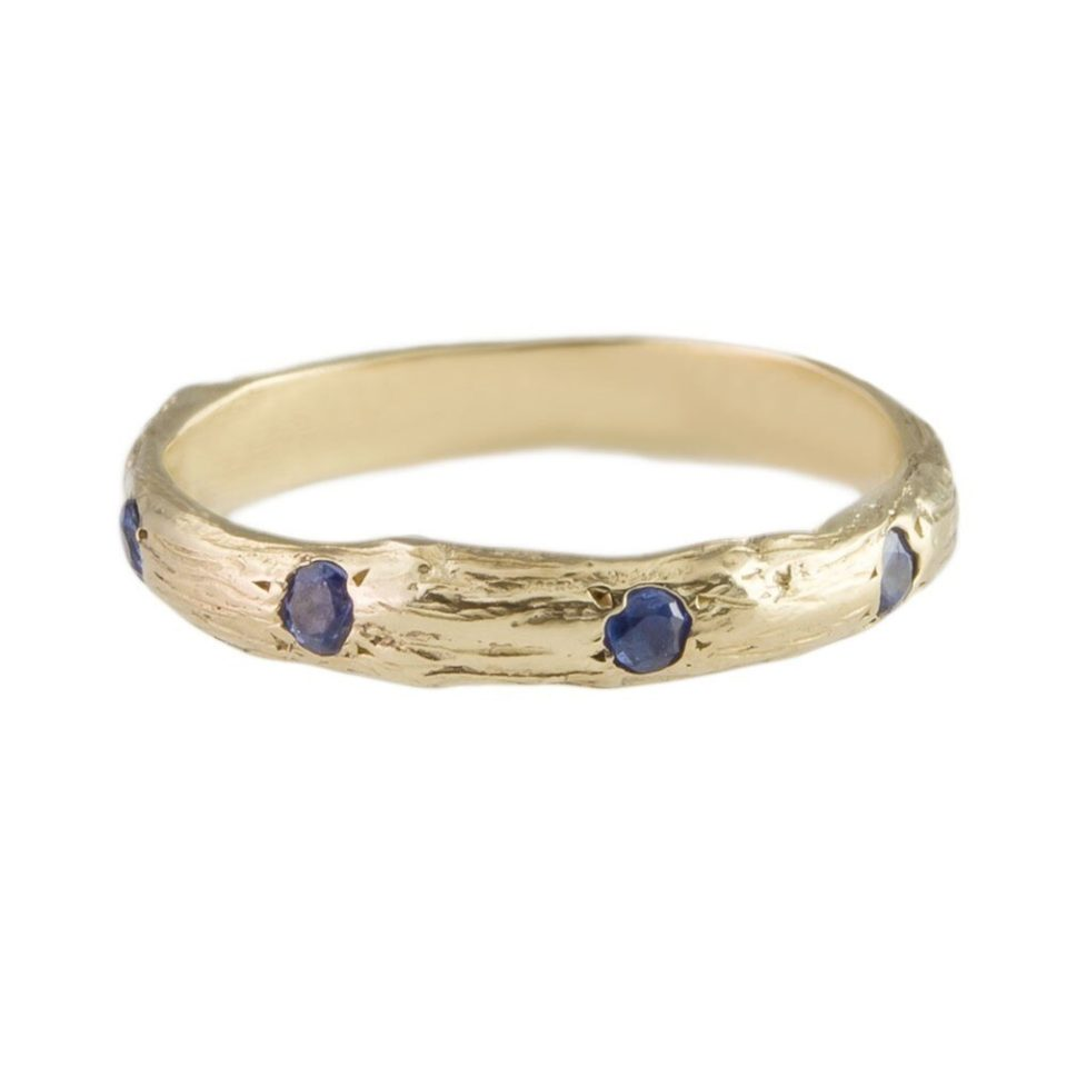 tomfoolery, eily o'connell, bark 9ct yellow gold blue sapphire eternity band