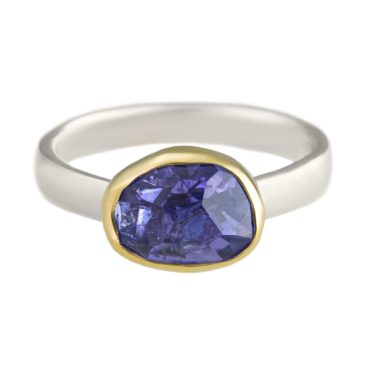 Margoni, Oval Tanzanite 18ct Yellow Gold & Silver Ring, Tomfoolery