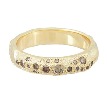 14ct Yellow Gold 'LXXVII' Champagne Diamond Scatter Band, Ellis Mhairi Cameron, Tomfoolery