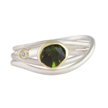 Margoni, Green Tourmaline & Diamond 18ct Yellow Gold & Silver Slim Wrap Ring, Tomfoolery