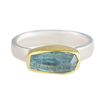 Margoni, Irregular Aquamarine 18ct Yellow Gold & Silver Flat Band Ring, Tomfoolery