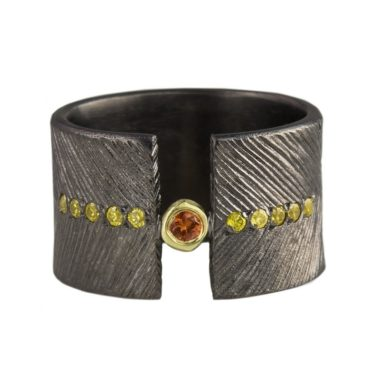 Maria Frantzi, Orange & Yellow Sapphire 18ct Yellow Gold & Oxidised Silver Ring, Tomfoolery