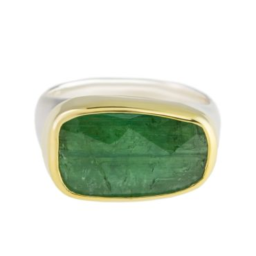 Margoni, Large Irregular Rectangle Green Tourmaline 18ct Yellow Gold & Silver Ring, Tomfoolery