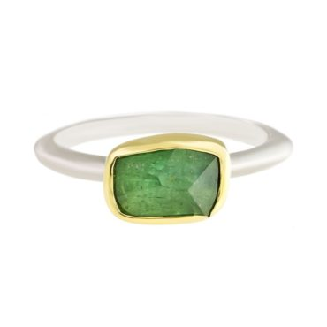 Margoni, Irregular Rectangle Light Green Tourmaline 18ct Yellow Gold & Silver Ring, Tomfoolery