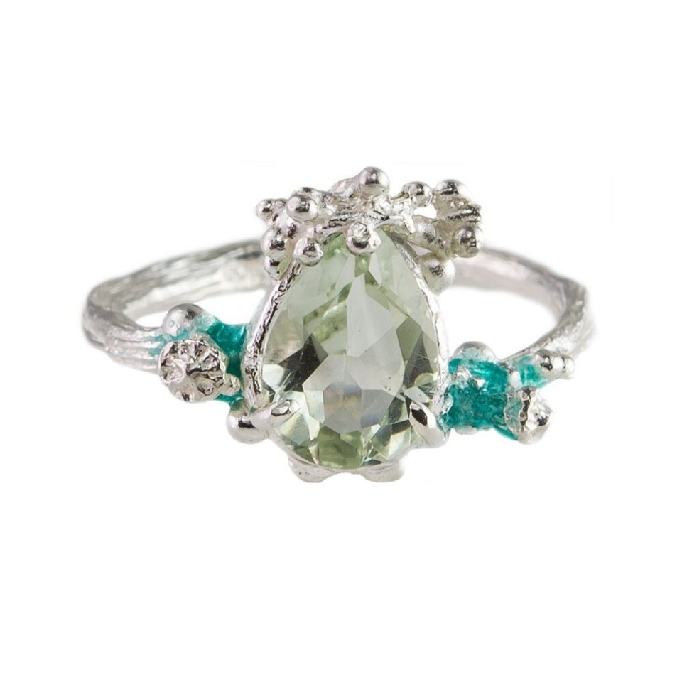 tomfoolery, eily o'connell, Silver, Enamel & Green Quartz Engagement Ring