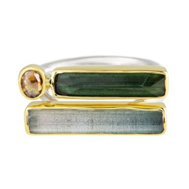 Margoni, Rectangular Tourmaline & Aquamarine 18ct Yellow Gold & Silver Double Band Ring, Tomfoolery