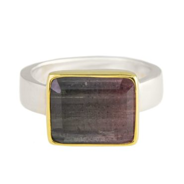 Margoni, Rectangle Watermelon Tourmaline 18ct Yellow Gold & Silver Flat Band Ring, Tomfoolery