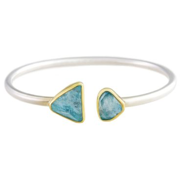 Margoni, Aquamarine 18ct Yellow Gold & Silver Open Cuff Bracelet, Tomfoolery
