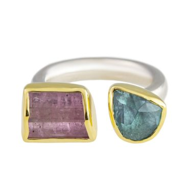 Margoni, Aquamarine & Rectangle Pink Tourmaline 18ct Yellow Gold & Silver Open Band Ring, Tomfoolery
