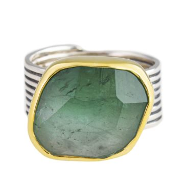 Margoni, Wide Green Tourmaline 18ct Yellow Gold & Silver Ring, Tomfoolery