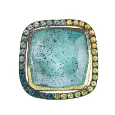 Maria Frantzi, Mother of Pearl Doublet 18ct Yellow Gold & Oxidised Silver Ring, Tomfoolery