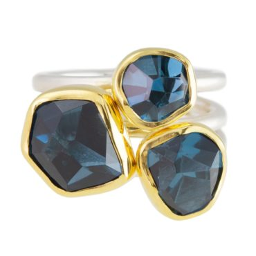Margoni, Three Blue Topaz 18ct Yellow Gold & Silver Triple Band Ring, Tomfoolery