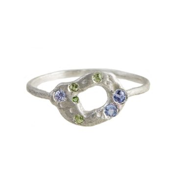 Maria Beltran, Blue & Green Sapphire Silver Organic Small Circle Ring, Tomfoolery
