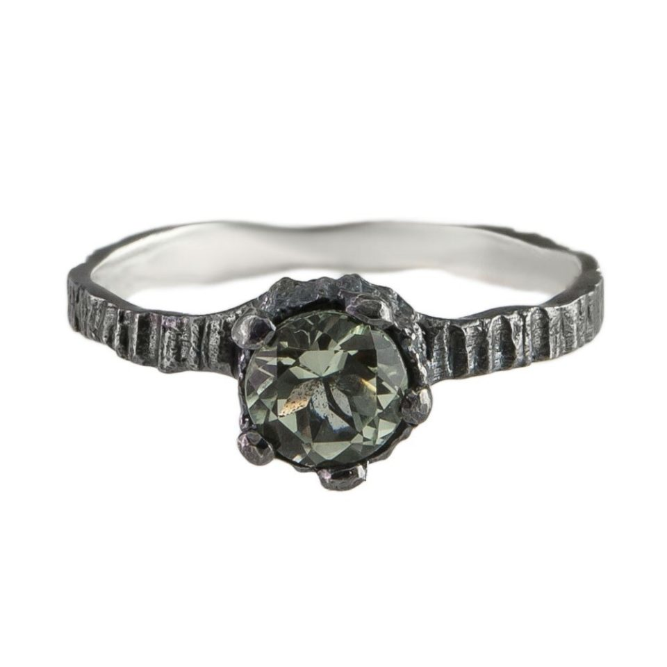 tomfoolery,  Oxidised Silver & Green Quartz Engagement Ring, eily o'connell