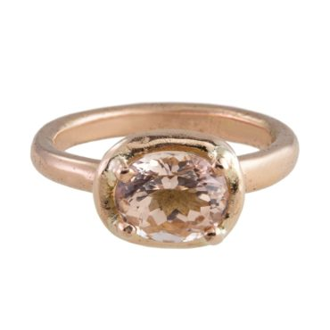 Mia Chicco, Organic Morganite & 9ct Rose Gold Ring, Tomfoolery