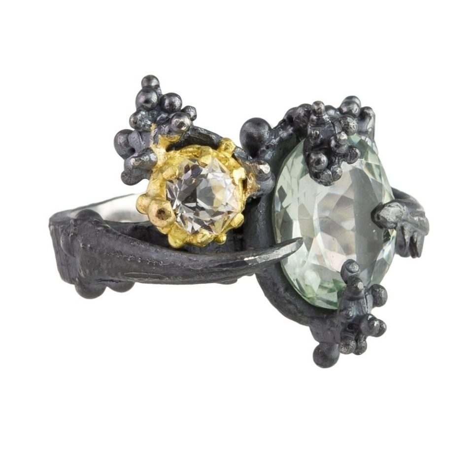 tomfoolery, eily o'connell, One Of A Kind 'Yacu Mama' Green Quartz, Silver, 18ct Yellow Gold Ring  , Art Ring 2019