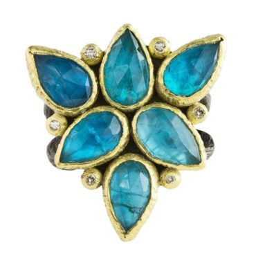 Maria Frantzi, One of a Kind 'Apatite Doublet & Diamond' Art Ring, Tomfoolery