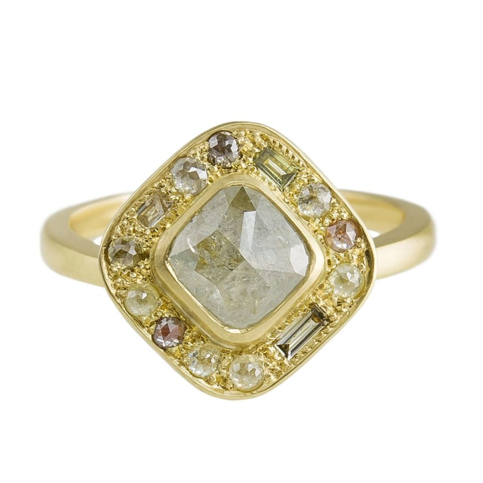 Muse by tomfoolery, 18ct Yellow Gold Puzzle Cushion Rose Cut Diamond Ring, Tomfoolery