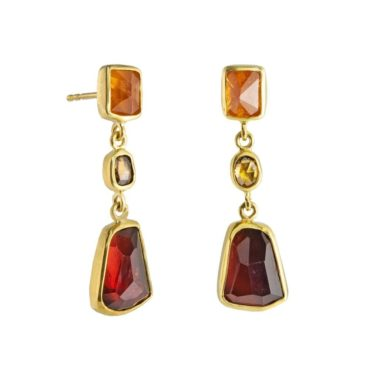 Margoni, Garnet, Garnet & Diamond 18ct Yellow Gold Drop Earrings, Tomfoolery