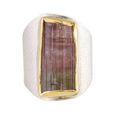 Margoni, Statement Watermelon Tourmaline 18ct Yellow Gold & Silver Ring, Tomfoolery