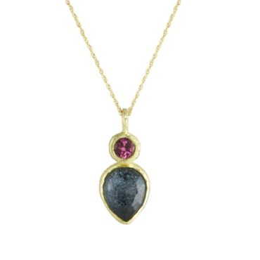 Maria Frantzi, Apatite & Pink Sapphire 18ct Yellow Gold Pendant, Tomfoolery