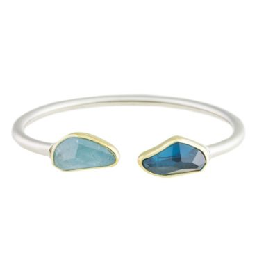 Margoni, Aquamarine & Blue Topaz 18ct Yellow Gold & Silver Open Cuff Bracelet, Tomfoolery