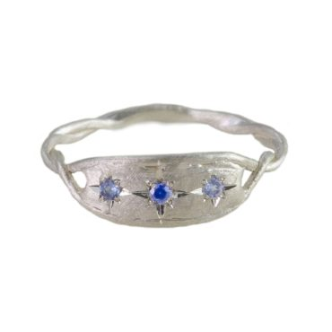 Maria Beltran, Lilac & Blue Sapphire Three Stone Organic Silver Ring, Tomfoolery