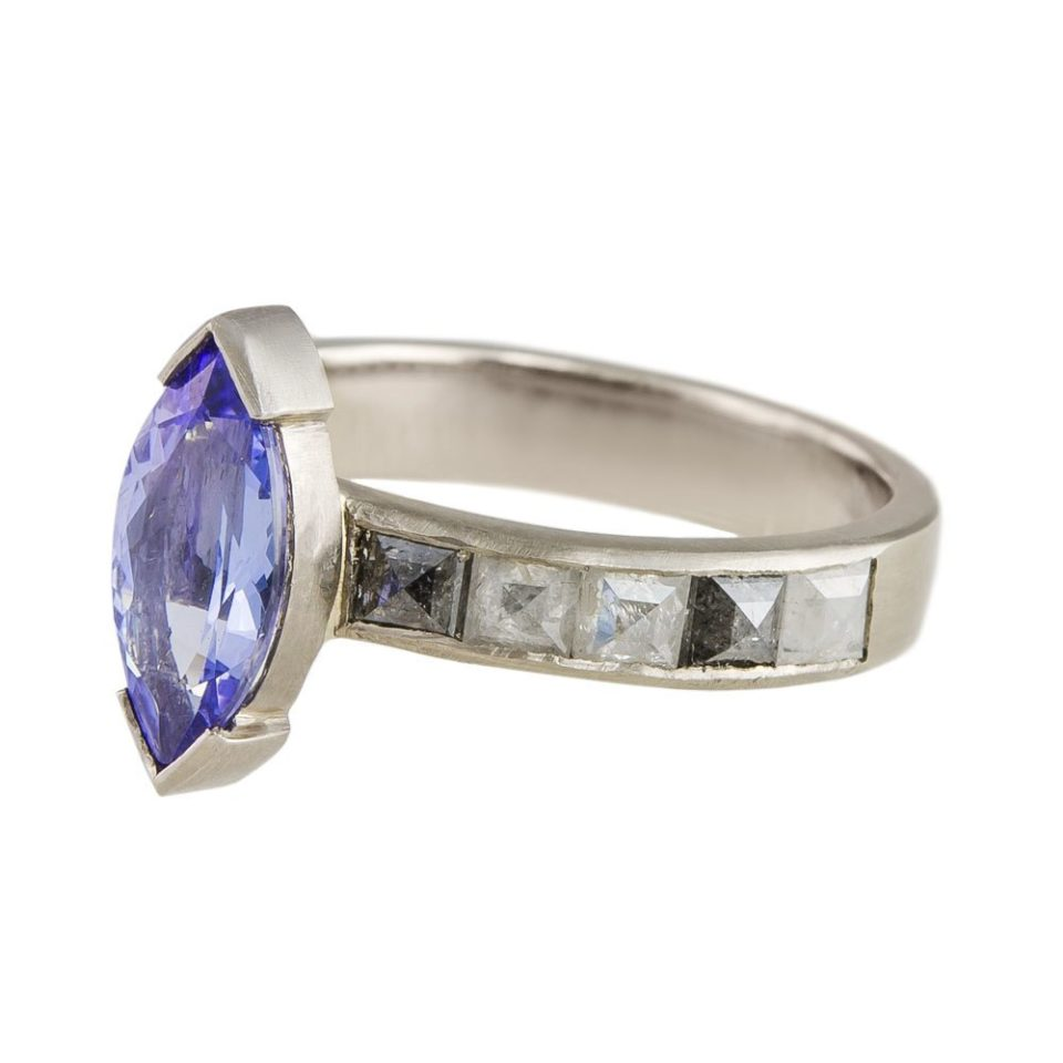 Muse by tomfoolery, 18ct White Gold Tanzanite and Chanel Set Diamond Ring , Tomfoolery