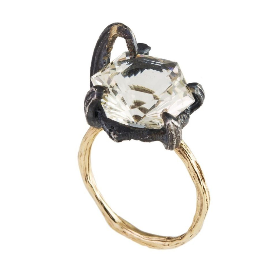 tomfoolery, eily o'connell,  One Of A Kind 'Melusine' Citrine, Silver & 18Ct Yellow Gold Ring, Art Ring 2019