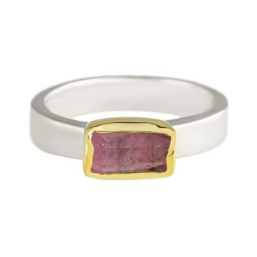 Margoni, Rectangular Pink Tourmaline 18ct Yellow Gold & Silver Ring, Tomfoolery